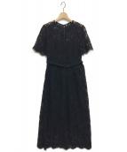 FRAY I.D(フレイアイディー)の古着「パイピングレースワンピース」|ブラック