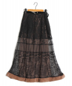 Ameri VINTAGE(アメリビンテージ)の古着「STRATUM LACE SKIRT」|ブラック