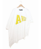 ANREALAGE(アンリアエイジ)の古着「SIDE ANGLE PRINT TEE SHIRT」|ホワイト
