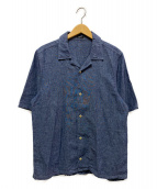 Denham(デンハム)の古着「オープンカラーリネンシャツ」|ブルー