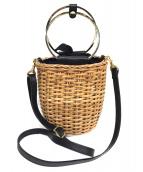 VIOLAdORO(ヴィオラドーロ)の古着「ラタンゴールドリングバッグ」|ベージュ