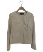 allureville(アルアバイル)の古着「ノーカラーレザージャケット」|ベージュ