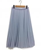 heliopole(エリオポール)の古着「パウダーサテンアコーディオンスカート」|サックスブルー