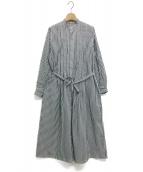 GRANDMA MAMA DAUGHTER(グランマ ママ ドーター)の古着「ワッシャーストライプタックシャツワンピース」 ネイビー