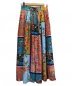 QUEENS COURT(クイーンズコート)の古着「パネルプリントプリーツスカート」