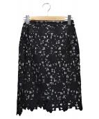 QUEENS COURT(クイーンズコート)の古着「ギンガムチェックレーススカート」|ブラック