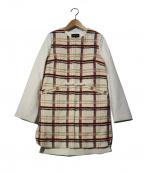 QUEENS COURT(クイーンズコート)の古着「カラーファンシーノーカラーコート」 ホワイト