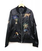 Lois CRAYON(ロイスクレヨン)の古着「刺繍MA-1ジャケット」|ブラック