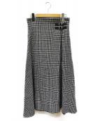 ONEIL OF DUBLIN(オニール オブ ダブリン)の古着「千鳥チェク柄ラップスカート」|ブラック