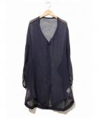 Y's YOHJI YAMAMOTO(ワイズ ヨウジヤマモト)の古着「透かし地ロングカーディガン」 ネイビー