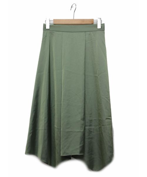 ANAYI(アナイ)ANAYI (アナイ) エアリーサテンイレギュラーヘムスカート グリーン サイズ:Mの古着・服飾アイテム