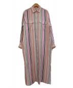 UNITED ARROWS(ユナイテッドアローズ)の古着「リネンストライプシャツワンピース」|ピンク