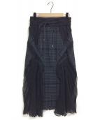 sacai(サカイ)の古着「パネルデザインスカート」|ブラック
