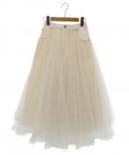 BELLE VINTAGE(ベル ビンテージ)の古着「デニムドッキングボリュームチュールスカート」 ホワイト