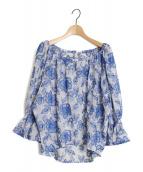 GRACE CONTINENTAL(グレースコンチネンタル)の古着「ジョーゼット刺繍ブラウス」 ブルー