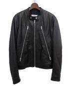 Maison Margiela(メゾンマルジェラ)の古着「19AW ハの字シングルライダースジャケット」|ブラック