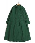 nagonstans(ナゴンスタンス)の古着「6/4ライトクロスフレアモッズコート」|グリーン