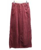 Wrangler(ラングラー)の古着「コーデュロイワイドパンツ」|ワインレッド