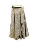 FRAY ID(フレイアイディー)の古着「チェックツイードスカート」|ベージュ