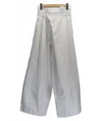 VINCA TOKYO(ヴィンカトーキョー)の古着「レーヨンリネンワイドパンツ」 ホワイト