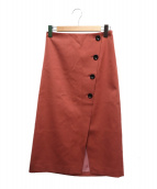 Spick and Span Noble(スピック&スパンノーブル)の古着「ボタントラペーズスカート」|ピンク