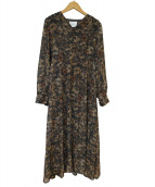 Ameri VINTAGE(アメリビンテージ)の古着「モナデザインネックドレス」 ブラウン