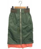 sacai(サカイ)の古着「フロントZIPスカート」|オリーブ