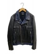 REPLAY(リプレイ)の古着「レザーライダースジャケット」 ブラック