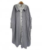 AULA(アウラ)の古着「ストライプレイヤードシャツワンピース」|ホワイト×ネイビー