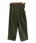 chimala(チマラ)の古着「ベイカーバックサテンプリーツパンツ」|オリーブ