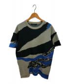 ALMOSTBLACK(オールモストブラック)の古着「ブロークンメーターニット」|ブルー×グレー