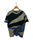 ALMOSTBLACK(オールモストブラック)の古着「ブロークンメーターニット」 ブルー×グレー