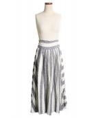 BLACK CRANE(ブラッククレーン)の古着「ストライプ リネンラップスカート」 ホワイト×ネイビー