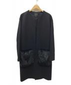 YOKO CHAN(ヨーコチャン)の古着「フェイクファーポケットノーカラーコート」|ブラック