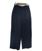 CASA FLINE(カーサフライン)の古着「ヘビーリネンストレートパンツ」|ネイビー