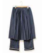FACETASM(ファセッタズム)の古着「プリーツスカートコンビパンツ」|ネイビー