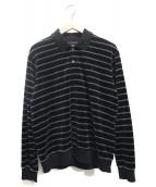 SUPREME(シュプリーム)の古着「Striped Velour L/S Polo」 ブラック