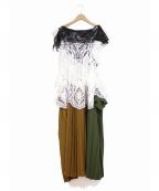 TOGA(トーガ)の古着「ドッキングワンピース/Lace dress」|カーキ×ブラウン