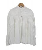 Scye(サイ)の古着「リネン高密度長袖タックシャツ」|ホワイト