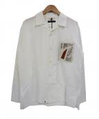 PORTVEL(ポートヴェル)の古着「ボックスシルエットオープンカラーシャツ」 ホワイト×ベージュ