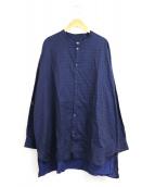 GALLEGO DESPORTES(ギャレゴデスポート)の古着「ドット柄バンドカラーシャツ」|ネイビー