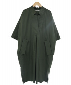 PLAIN PEOPLE(プレインピープル)の古着「ネックデザイン半袖ブラウスワンピース」|オリーブ