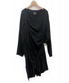 B Yohji Yamamoto(ヨウジヤマモト)の古着「ギャザーワンピース」|ブラック