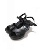 agnes b(アニエスベー)の古着「レザーウェッジソールサンダル」|ブラック