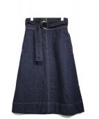 MACPHEE(マカフィー)の古着「コットンデニムハイウエストベルテッドスカート」|インディゴ
