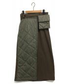 ELENDEEK(エレンディーク)の古着「キルティングウエストバッグスカート」|オリーブ