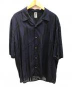 myne(マイン)の古着「オープンカラーシャツ」|パープル×ブラック