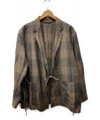 COMOLI(コモリ)の古着「ウールラミーチェックジャケット」|ブラウン