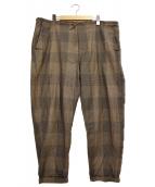 COMOLI(コモリ)の古着「17AWウールラミーチェックパンツ」 ブラウン