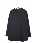 mizuiro-ind(ミズイロインド)の古着「バンドカラーシャツジャケット」|ネイビー